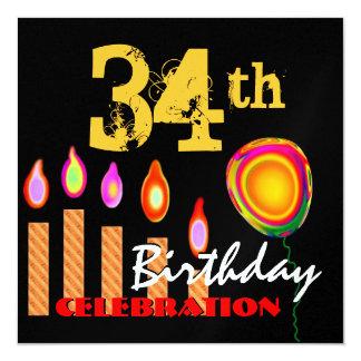 34to Velas y globo del oro del cumpleaños Invitación 13,3 Cm X 13,3cm