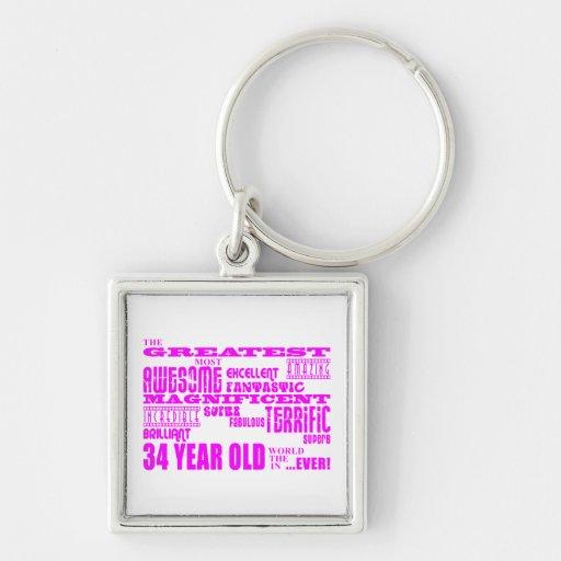 34tos cumpleaños treinta y cuatro más grande rosad llavero cuadrado plateado