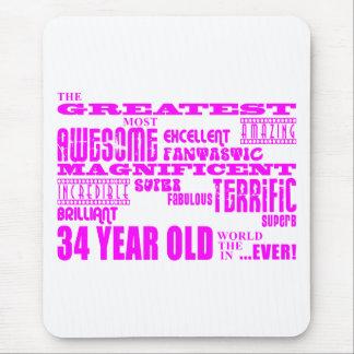 34tos cumpleaños treinta y cuatro más grande rosad mousepads