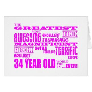 34tos cumpleaños treinta y cuatro más grande tarjeta pequeña