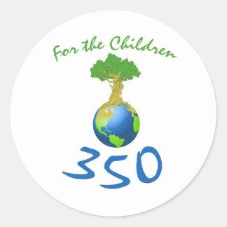350 para los niños etiqueta redonda