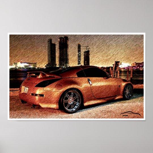 350Z City Scape Pencil Sketch Poster
