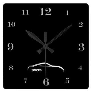 350Z white brushstroke logo Square Wall Clock