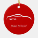 350Z White Silhouette with Red Background Double-Sided Ceramic Round Christmas Ornament