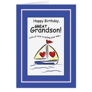 Valentines Themed 3541 Great Grandson Religious Sailboat Birthday Card