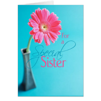 3548 Sister Valentine's Day Pink Daisy Blue Card