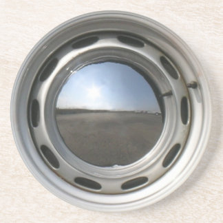356 Classic car wheel (rim) with chrome hubcap Drink Coaster