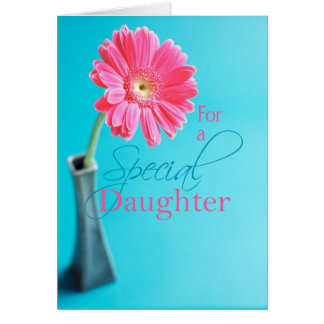 3574 Daughter  Valentine's Day Pink Daisy Blue Card