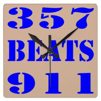 357 BEATS 911 SQUARE WALL CLOCK