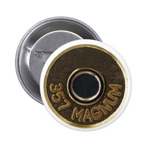 357 Magnum brass shell casing Pinback Button