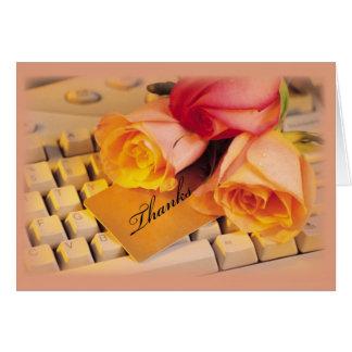 3589 Admin Pro Computer Roses Thanks Greeting Card