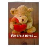 3599 Nurse Bear Heart Greeting Card