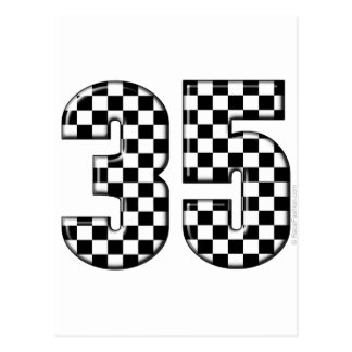 35 auto racing number postcard