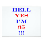 35 Hell yes 4.25x5.5 Paper Invitation Card