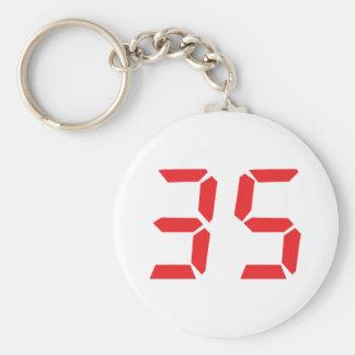 35 thirty-five red alarm clock digital numbr basic round button keychain