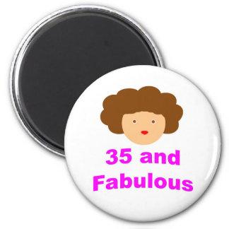 35 y fabuloso imán redondo 5 cm