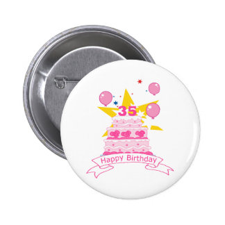 35 Year Old Birthday Cake Pinback Buttons