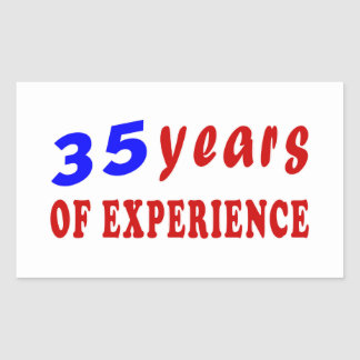 35 years of experience rectangle sticker