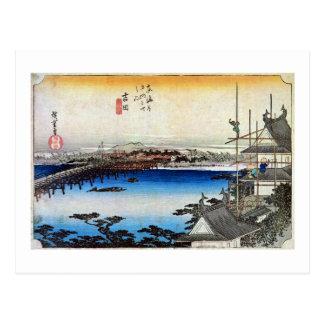 35. Yoshida inn, Hiroshige Postcard