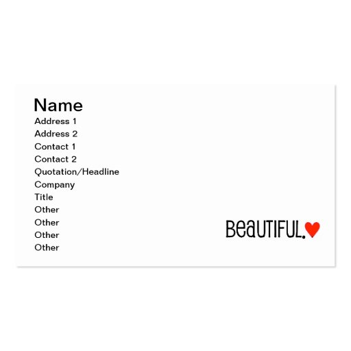 35e2b24 beautiful bright red heart Double-Sided standard business cards (Pack of 100)