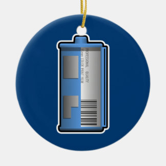 35mm Film Canister Ornament (blue background)