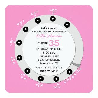 35ta invitación retra rosada de la fiesta de invitación 13,3 cm x 13,3cm