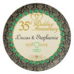 35ta placa PERSONALIZADA del aniversario de la esm Plato Para Fiesta