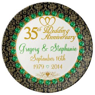 35ta placa personalizada del aniversario de la platos de cerámica