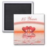 35th Anniversary Coral Hearts 2 Inch Square Magnet