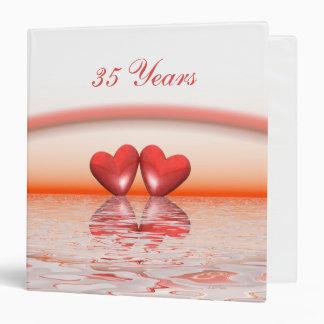 35th Anniversary Coral Hearts 3 Ring Binder