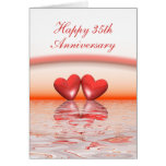 35th Anniversary Coral Hearts Card