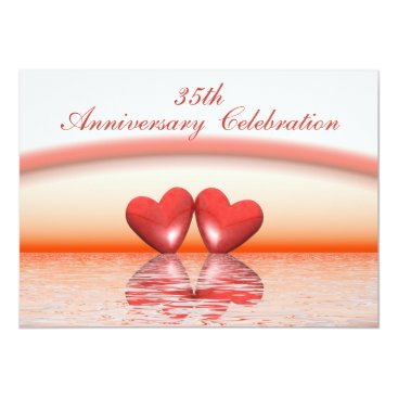 Valentines Themed 35th Anniversary Coral Hearts Card