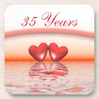 35th Anniversary Coral Hearts Coasters