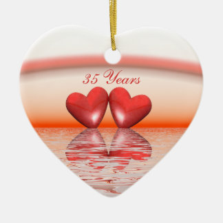 35th Anniversary Coral Hearts Double-Sided Heart Ceramic Christmas Ornament