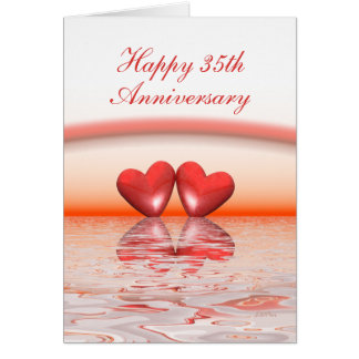 35th Anniversary Coral Hearts Greeting Card