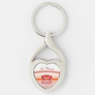 35th Anniversary Coral Hearts Keychain