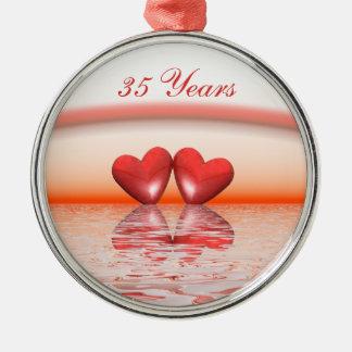 35th Anniversary Coral Hearts Metal Ornament