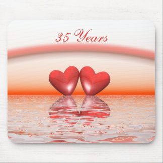 35th Anniversary Coral Hearts Mouse Pad