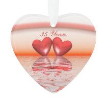 35th Anniversary Coral Hearts Ornament