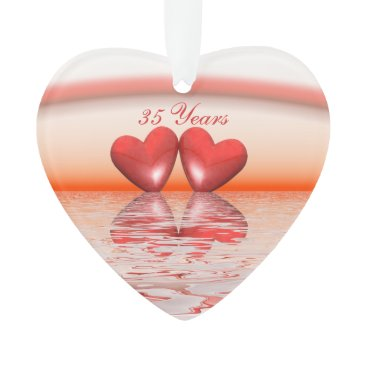 Valentines Themed 35th Anniversary Coral Hearts Ornament