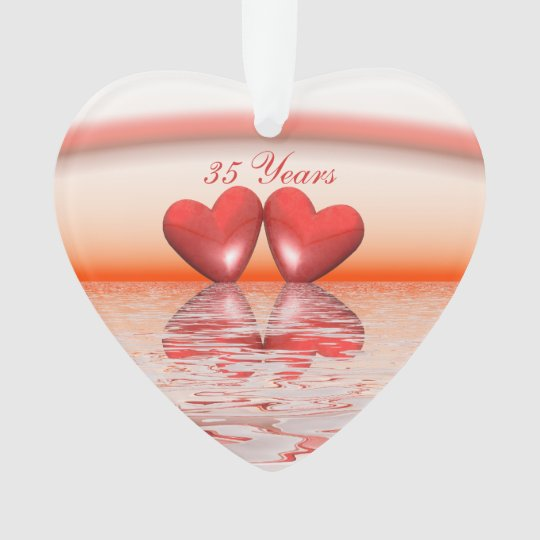 Gift Ideas For 35th Wedding Anniversary: 35th Anniversary Coral Hearts Ornament