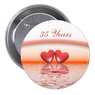 35th Anniversary Coral Hearts Pinback Button