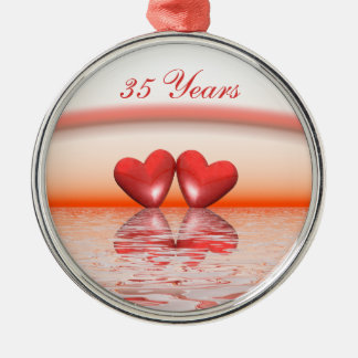 35th Anniversary Coral Hearts Round Metal Christmas Ornament