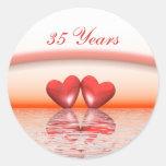 35th Anniversary Coral Hearts Round Stickers