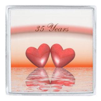35th Anniversary Coral Hearts Silver Finish Lapel Pin
