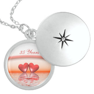 35th Anniversary Coral Hearts Sterling Silver Necklace