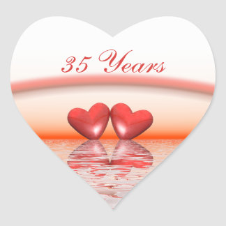 35th Anniversary Coral Hearts Heart Stickers
