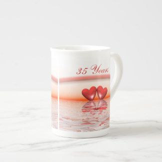 35th Anniversary Coral Hearts Tea Cup