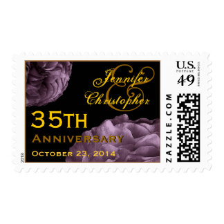 35th Anniversary Customized Stamp PURPLE Roses