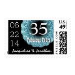 35th Anniversary Elegant BLUE Roses Wreath V05 Postage Stamps